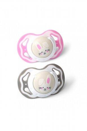 BabyOno čiulptukas silikoninis, simetrinis, 6-18 m, rožinis-pilkas, 2 vnt.