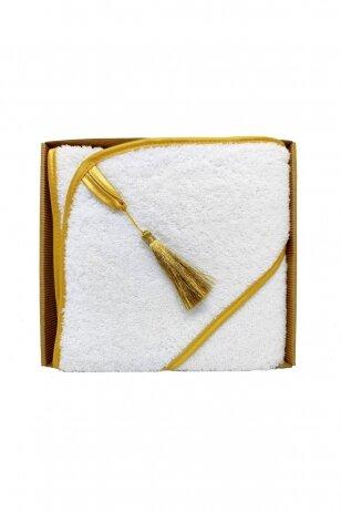 Medvilninis rankšluostis baltos spalvos su auksiniu kutu 75x75