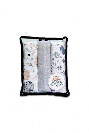 Muslino vystyklai kūdikiams 60x80cm 3vnt.