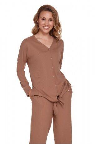 Pižamos marškinėliai smėlio spalvos, ilgomis rankovėmis