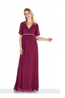 Ilga šventinė nėščiosios suknelė
