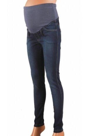 Tamsiai mėlyni siaurėjantys džinsai nėštukėms