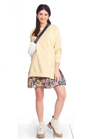 Medvilninis džemperis nėščioms ir maitinančioms Geltonas